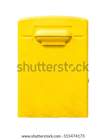 Yellow post office mailbox isolated on white background.