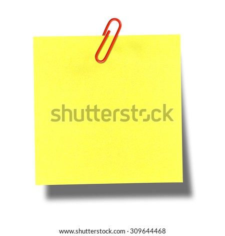 Yellow postit with red paper clip on white - stock photo