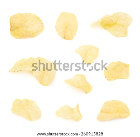 Yellow potato chips isolated over the white background, set of multiple different images - stock photo