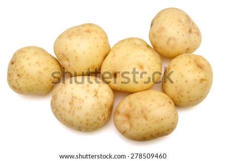 yellow potatoes on white background