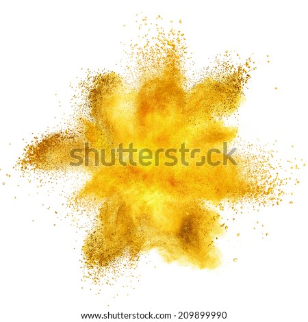 Yellow powder explosion isolated on white background - stock photo