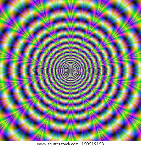 Yellow Pulse / Digital abstract fractal image with a psychedelic circular design in yellow blue and pink giving the illusion of movement. - stock photo