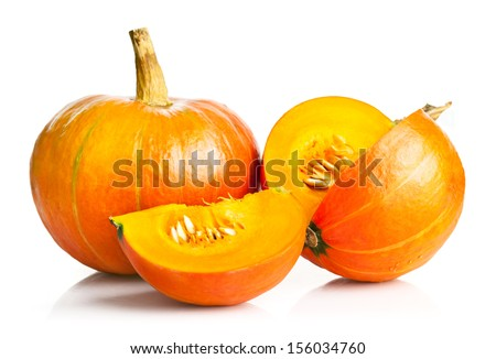 yellow pumpkin vegetable with cut isolated on white background - stock photo