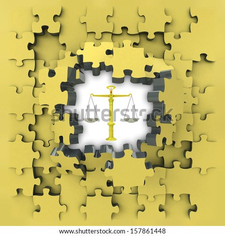 yellow puzzle jigsaw with justice weight idea revelation illustration - stock photo
