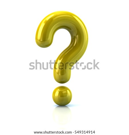 Yellow question mark sign 3d rendering isolated on white background