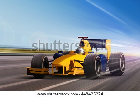 yellow race car on speed track - motion blur - stock photo