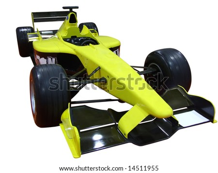 yellow racing car isolated