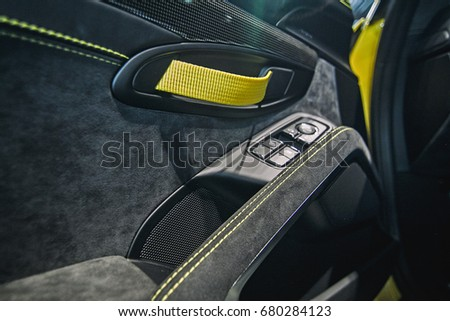 Yellow Racing Interior Door Panel Racecar Stock Photo Royalty Free