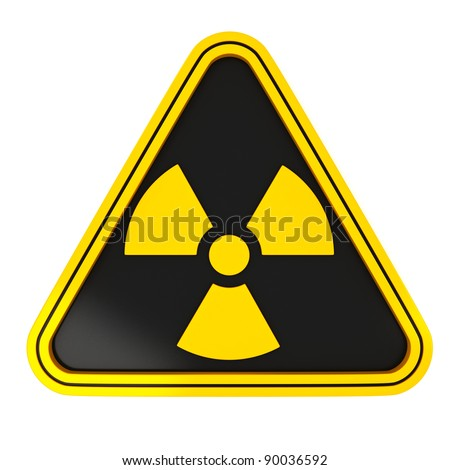 Yellow Radiation Triangle Sign on black with white background - stock photo