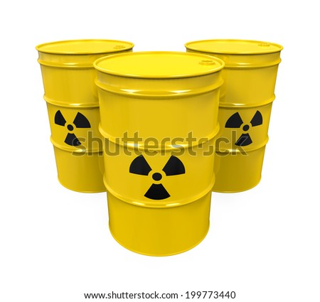 Yellow Radioactive Barrels - stock photo