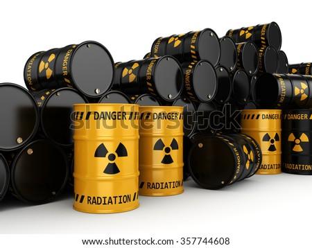 Yellow radioactive barrels on white background - stock photo