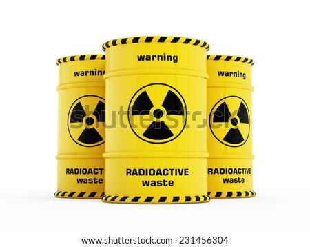 Yellow radioactive barrels stack with warning signs. - stock photo