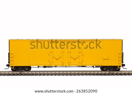 Yellow Railroad Box Car - stock photo