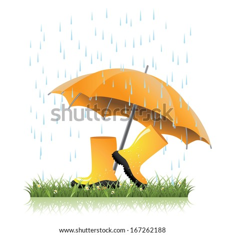Yellow rain boots and umbrella in spring grass. jpg. - stock photo