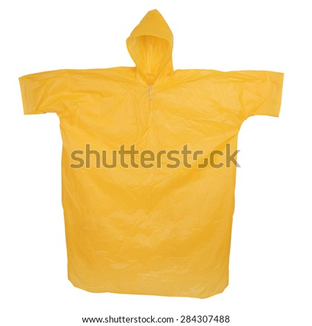Yellow raincoat with hood isolated on white background - stock photo