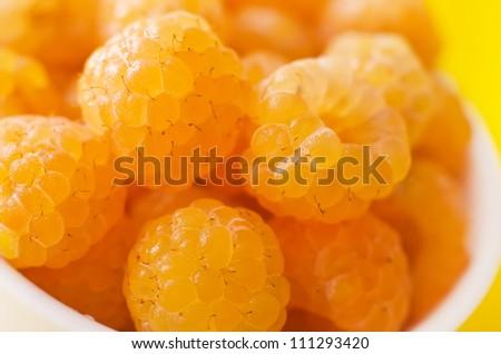 yellow rasberry - stock photo