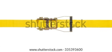 Yellow ratchet strap on a white background - stock photo