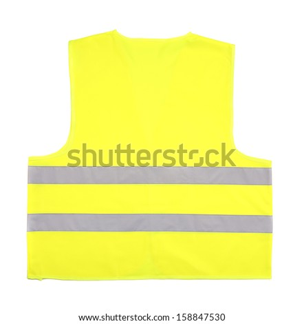 Yellow recue vest isolated on white background - stock photo