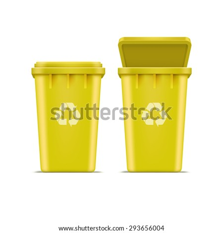 Yellow Recycle Bin for Trash and Garbage Isolated on White Background - stock photo