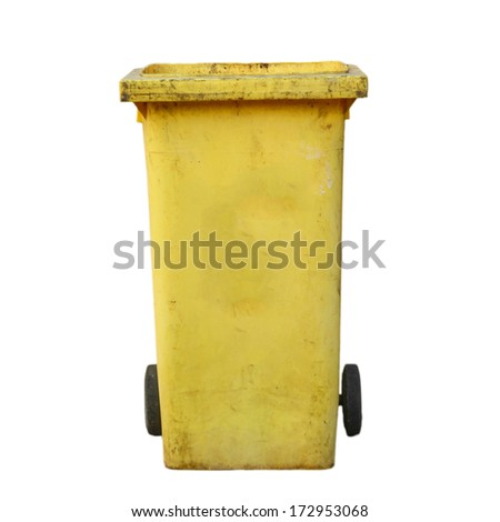 yellow recycle bin isolate - stock photo