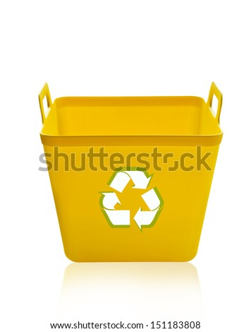 Yellow recycling bin isolated on white background