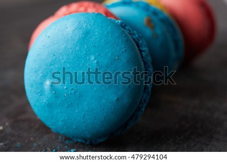 yellow, red and blue macaroon close up