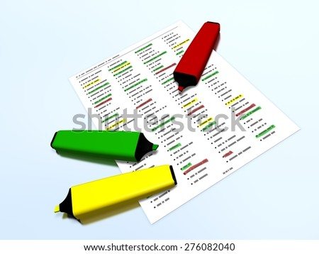 Yellow, red and green pen markers laying on a document presenting a list with some selected elements which are highlighted, on a reflective surface, referring to concepts as selection and check-lists - stock photo