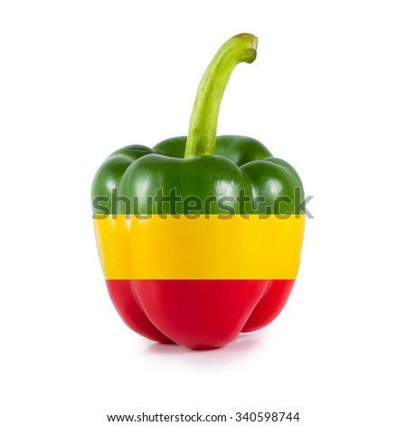 Yellow red and green Sweet bell pepper (capsicum) isolated on white