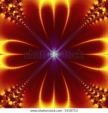 Yellow-Red fractal flower - stock photo