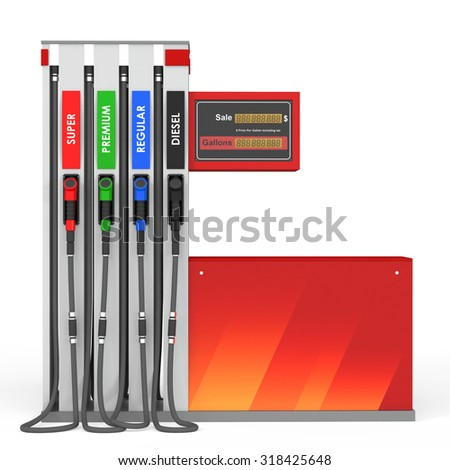 Yellow/red gas pump on white background.3d render