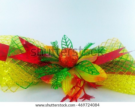 yellow red green with glitter  Bow or Ribbon on white background
