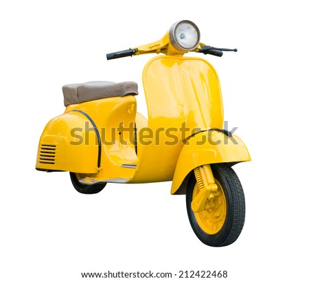 Yellow Retro Motorcycle isolated on white background with clipping path - stock photo
