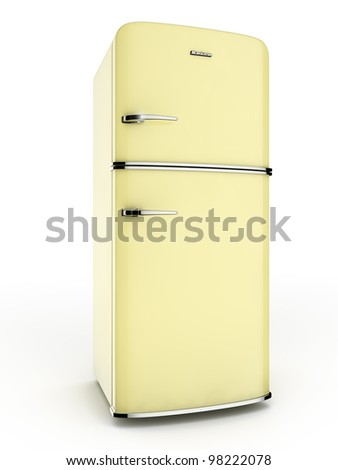 Yellow retro refrigerator. Isolated on white