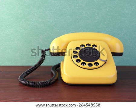 Yellow retro rotary dial telephone on wooden table. Vintage illustration.
