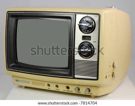 Yellow Retro TV - stock photo