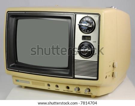 Yellow Retro TV - stock photo