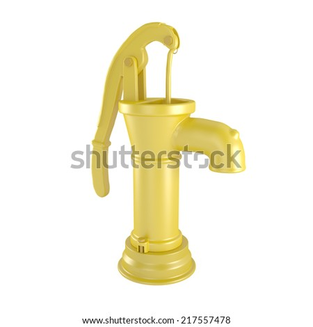 Yellow Retro Water Pump isolated on white - 3d illustration - stock photo