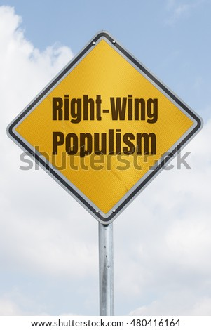 yellow rhombus traffic sign with the words right-wing populism. Political concept for an international trend