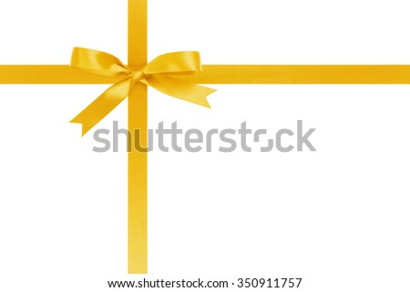 yellow ribbon cross with bow for packaging with tails isolated on white background