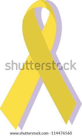 Yellow ribbon, military support - stock photo