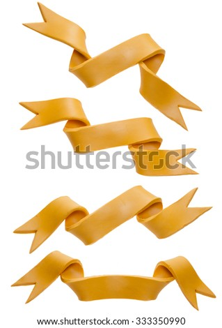 Yellow ribbons set isolated on a white background - stock photo