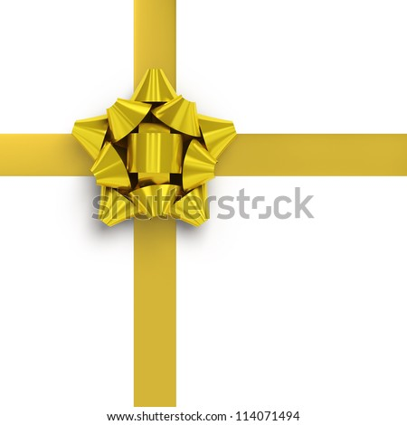 Yellow ribbons with bow for gift wrapping on white background - stock photo