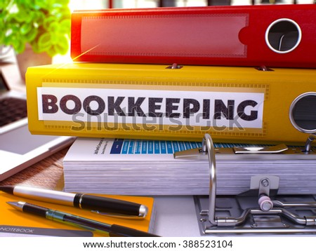 Yellow Ring Binder with Inscription Bookkeeping on Background of Working Table with Office Supplies and Laptop. Bookkeeping Business Concept on Blurred Background. 3D Render. - stock photo