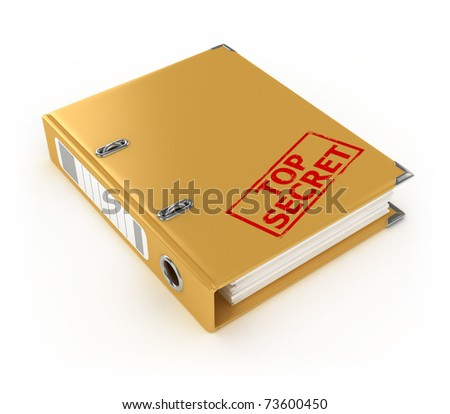 yellow ring binder with top secret stamp isolated on the white background - stock photo