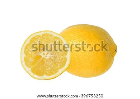 yellow ripe lemon over the white background - stock photo