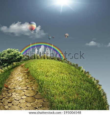 Yellow road in a fabulous city, abstract eco backgrounds. Sustainable development concept - stock photo
