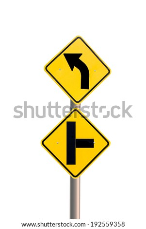 Yellow Road Sign Isolated on white background - stock photo