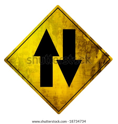 yellow road sign on a white background