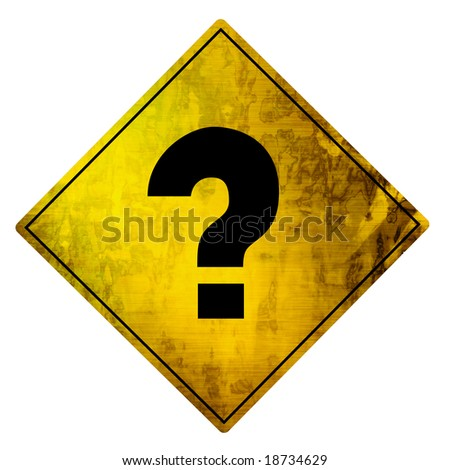 yellow road sign with a question mark on it - stock photo
