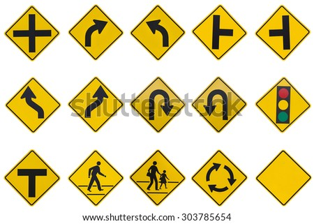 yellow road signs, traffic signs set on white background - stock photo